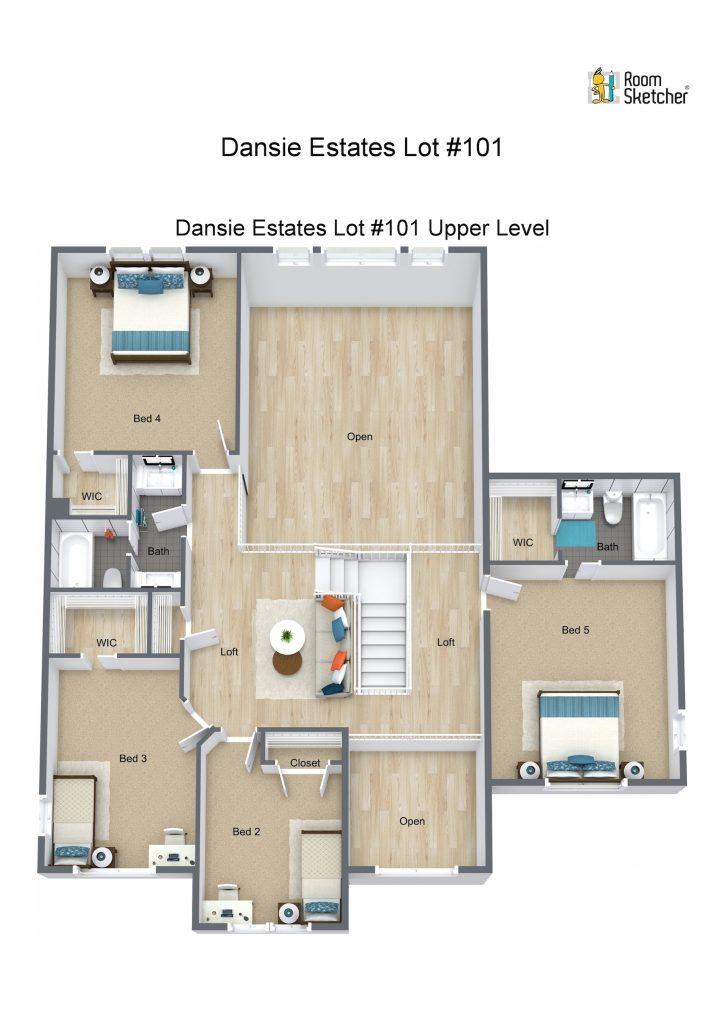 Lot #101 Upper Level - 3D Floor Plan